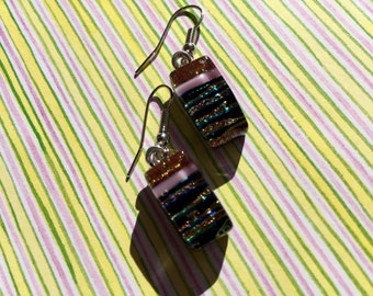 Fused Glass Earrings in Peach/pink and Rainbow/black Dichroic