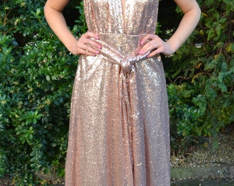 Custom made 'Kira' prom dress full sequin infinity gown that can be worn multiple ways