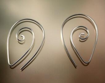 Hammered Sterling Silver Nautilus Swirl Hoop Earrings