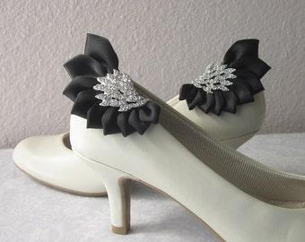 Black Satin Rhinestone Wing-Shaped Shoe Clips, One-of-a-Kind, OOAK, Handmade Shoe Jewelry, Bridal, Bridesmaids, Alternative Wedding