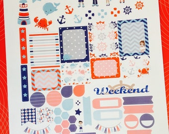 Nautical Cuties Weekly Planner Stickers Set, for use with Erin Condren Life Planner, Happy Planner
