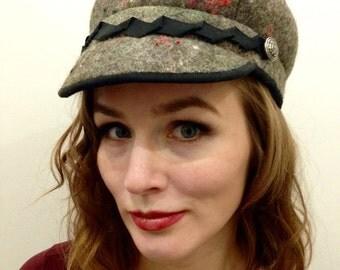 15%SALE!Military style designer felt cap, handmade felt, green,brown,glitter