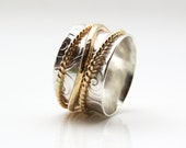 Spinner Ring, Sterling Silver Ring, 14K Gold Ring, Wedding Ring, Meditation Ring, Two Tone Ring