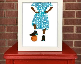 Larry Johnson print, Digital Illustration, Pop culture print, Sports art, 8x10 print, Shoe illustration, Converse Grandmama, nostalgia