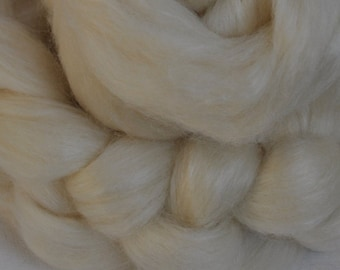 Undyed Blue Face Leicester Wool Top / Tussah Silk (75/25)