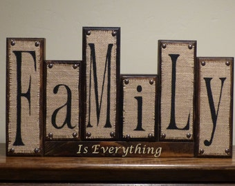 Burlap Family blocks, Rustic Home Decor, Custom Family Wood Block Letters, Custom Name Blocks, Family is Forever, Family sign Personalized