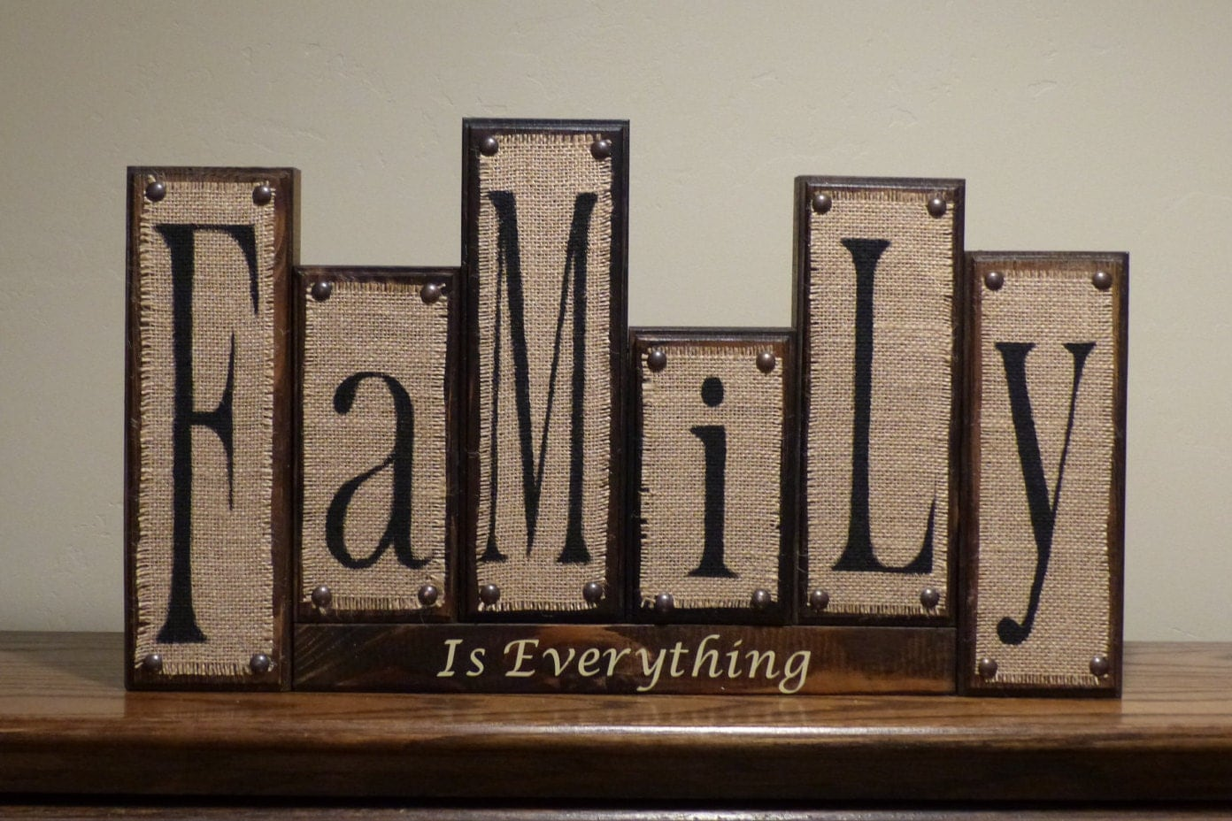 burlap family blocks rustic home decor custom family wood