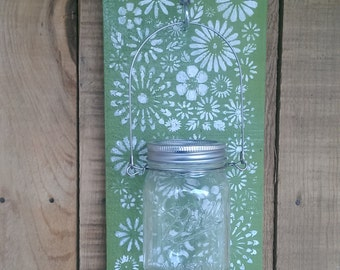 Mason Jar Wall Sconce Candle  Hand painted  Cottage Chic Funky Shabby
