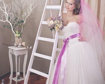 Pink Wedding Veil, Two Color Custom Bridal Veil, Veils on Combs, Boho Veil, Chapel Veils, Cathedral Veils, Short Wedding Veils, Ombre Veil