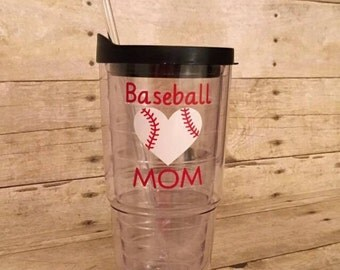 Large 24oz double wall tumbler Baseball mom  Personalized - Water Tumbler ~ Travel Tumbler -  Travel mug - Cup - custom - Gift - softball