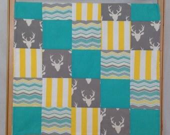 Deer Baby Blanket - Baby Blanket - Baby Quilt - Boy Baby Blanket - Patchwork Blanket - Minky Blanket - Teal & Yellow Blanket - Baby Gift