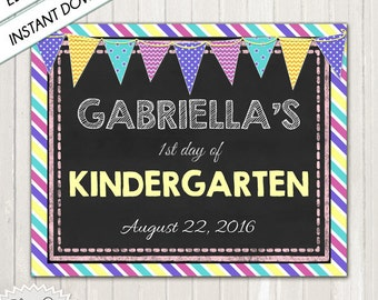 FIRST DAY of SCHOOL - Instant Download, Do It Yourself, Chalkboard First Day Sign P.D.F./ 1st Day of School Instant Download