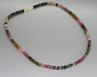 Beaded Watermelon Tourmaline Necklace with 14K gold plated elements - gift idea - multi color stone - natural gemstone beads