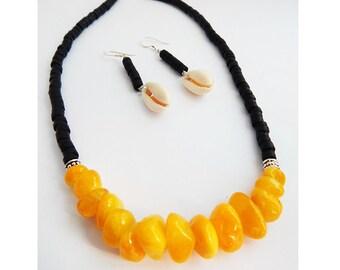 Yellow & Black Necklace African Jewelry Cowry Tribal Heishi Fashion Statement Dressy Ladies