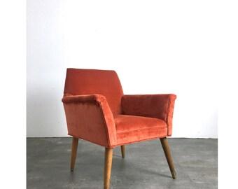 Unique Vintage Mid Century Italian Modern Orange Velvet Lounge Arm Chair 1950's