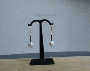 White Pearl Earrings, Solid 14k Gold Earrings, Beaded Pearl Dangle Earrings, Unique Wedding Jewelry, Romantic Jewelry, Pearl Bridal Earrings