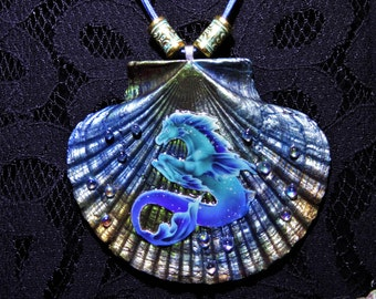 Hippocampus Seashell Art Necklace Hippocampus Jewelry Hippocampus Necklace Poseidon Necklace Poseidon Jewelry Fantasy Jewelry Horse Jewelry