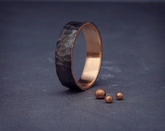 black 14k rose gold mens wedding ring handmade 14k solid rose gold rough - Male Wedding Rings