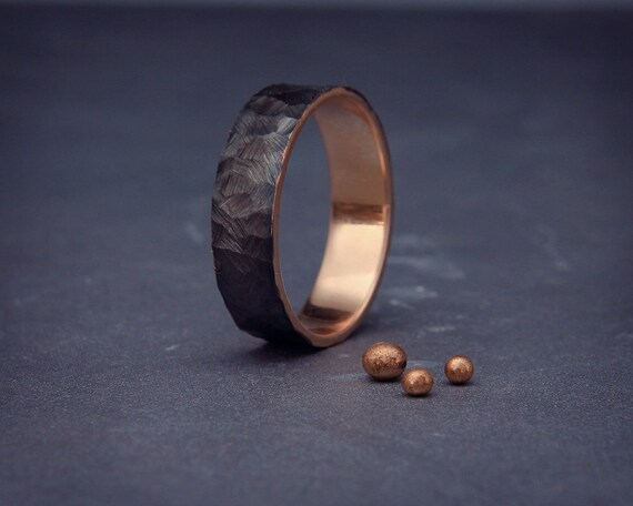 SALE Black 14k Rose Gold Mens Wedding Ring Handmade