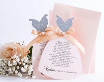Blush Bridesmaid Card Be my Bridesmaid Proposal Will You be my Bridesmaid Card in Dress Shape. Asking Bridesmaid Gift