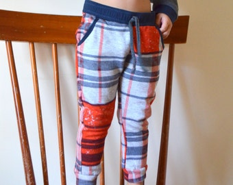Skinny Lounge Pants, French Terry, Mammoth plaid, made-to-order, sizes 2, 3, 4, 5 Toddler