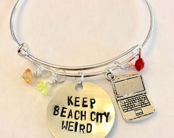 "Steven Universe Ronaldo Inspired Bangle Bracelet - ""Keep Beach City Weird"""