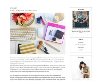 "NEW Premade Blogger Template - Clean Blog Design -   Black  White Blog Template - Lifestyle blog - Blogspot Minimalist Template ""CAROLINE"""