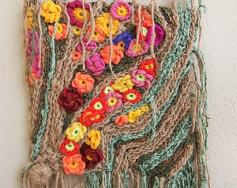 Mother's Day,Painting, Tapestry, Crochet hook, freeform crochet, fiber art,wool,wall hanging, gift