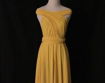 Yellow dress,Bridesmaid Dress , Infinity Dress,Knee Length Wrap Convertible Dress.Party dress-B14#