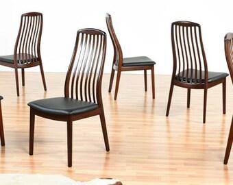 Set of 7 Modern Ergonomic Rosewood Dining Chairs