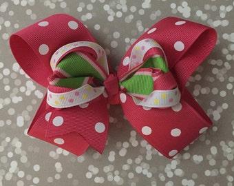 Pink Hair Bow | Springtime Hair Bow | Summer Hair Bow | Boutique Bow | Toddler Hair Bow | Toddler Bow | Pink Polka Dot Bow