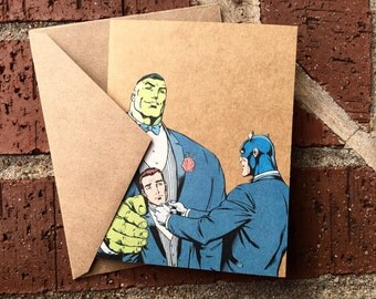 Vintage Marvel Avengers Incredible HULK and Captain America  Tuxedo/Wedding Comic Book Greeting Card (Blank)
