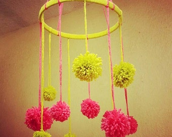 Baby Crib Yarn Mobile Pom Pom