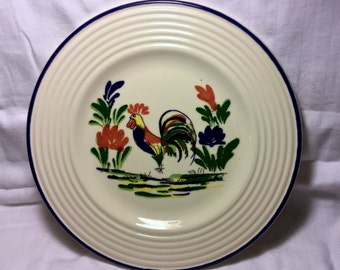 """Vintage French Varages 8"""" salad plate Quimper Rooster in bright colors"""