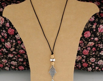 Tassel necklace with hamsa hand, long boho necklace, ibiza style jewelry, gift for her, tassel accessories