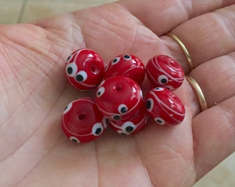 2+ Red   glass beads - handmade lampwork glass bead - murano glass beads - beads for jewelry - supplies beads - artisan beads for wedding