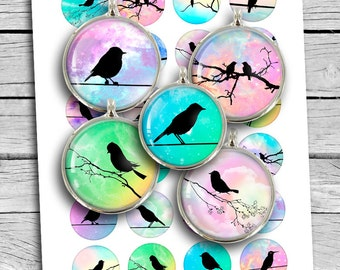"Bird Silhouettes Round images 35mm 30mm 1"" 25mm 1.5"" Printable Digital Collage Sheet"