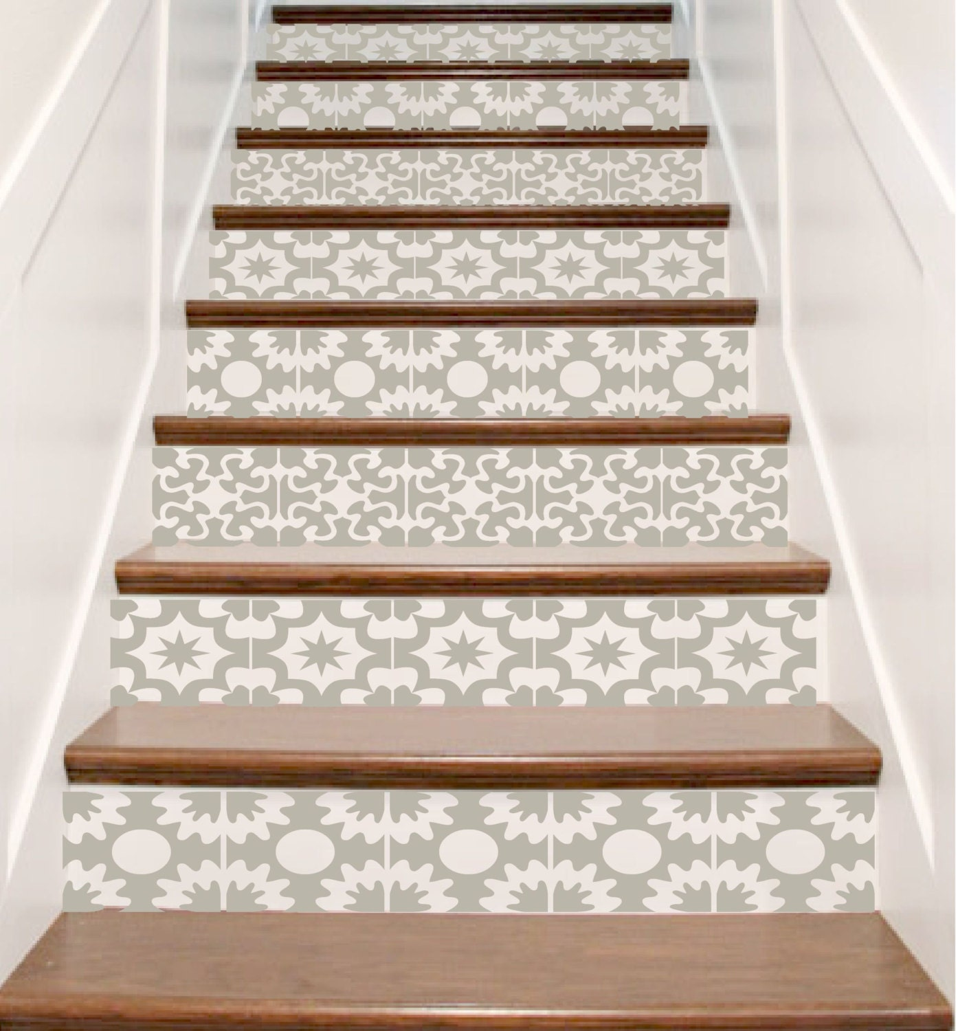 Vinyl stair tile decals hacienda spanish style staircase zoom dailygadgetfo Images