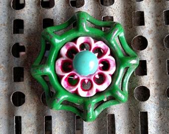 Lily-Repurposed Metal Spigot Handle Pendant Necklace