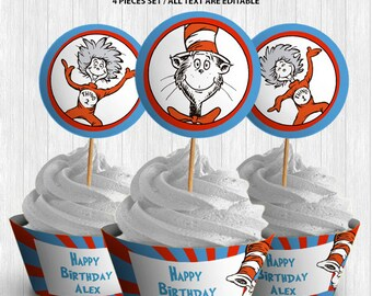 The Cat in the Hat Cupcake Decor