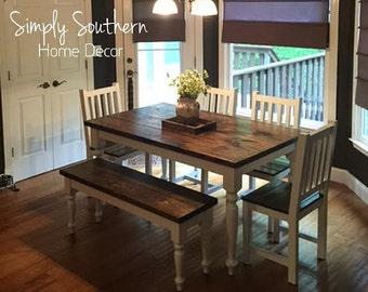 Farmhouse Table w/ Skinny Turned Legs (Custom Built)