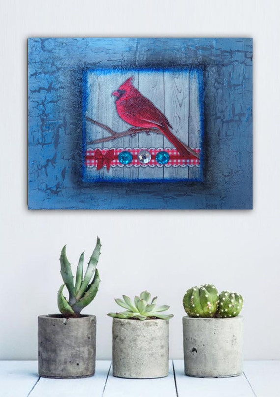Red Bird Wall Decor : Red bird cardinal wall decor vintage style paintings home