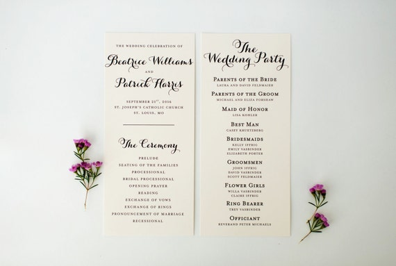 beatrice wedding programs (sets of 10)  // lola louie paperie