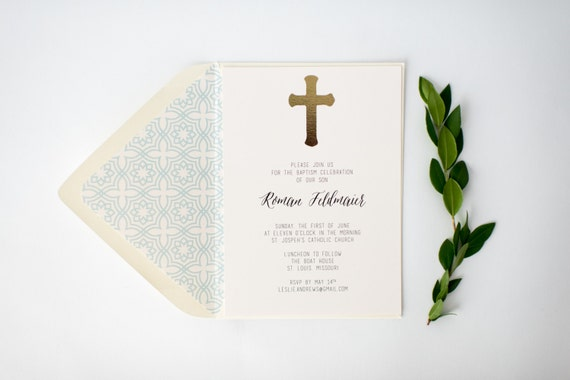 gold foil baptism / christening invitation  (sets of 10)  //  lola louie paperie