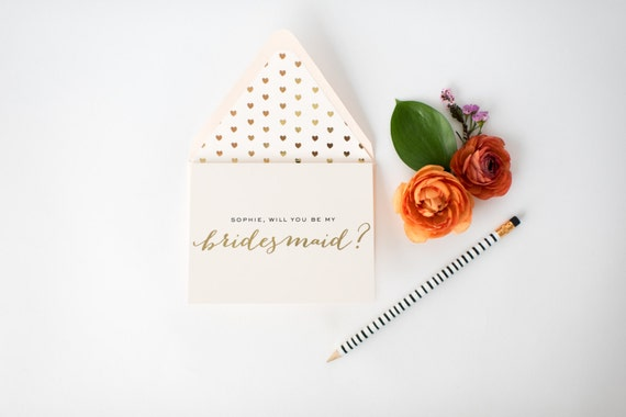 personalized gold foil / rose gold foil will you be my bridesmaid cards + lined envelopes  / bridesmaid proposal // lola louie paperie
