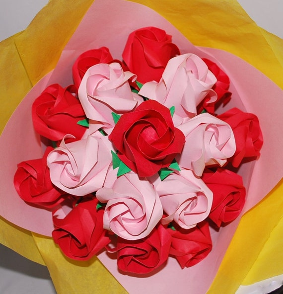 Origami roses paper rose bouquet flower