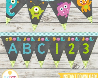 LITTLE MONSTER BIRTHDAY * Banner * Alphabet * Numbers * First Birthday * Birthday Decorations * Instant Download * Printable * Chalkboard