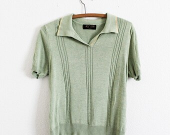 Vintage Pale Green Sweater - Collar - Short Sleeve - Shirt - Knit