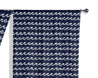 45 colors Nautical Nursery Curtains, Waves Curtain Panel, Lake House Navy Window Curtains, Kids Bedroom Curtains, Boys Curtains, Blue Drapes