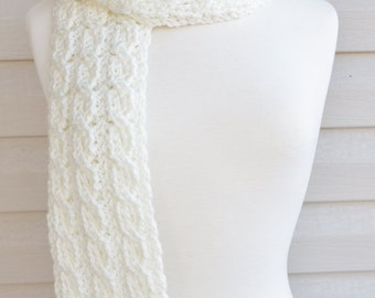 Crochet Super Long Soft Faux Cable Scarf in Off White for Fall or Winter